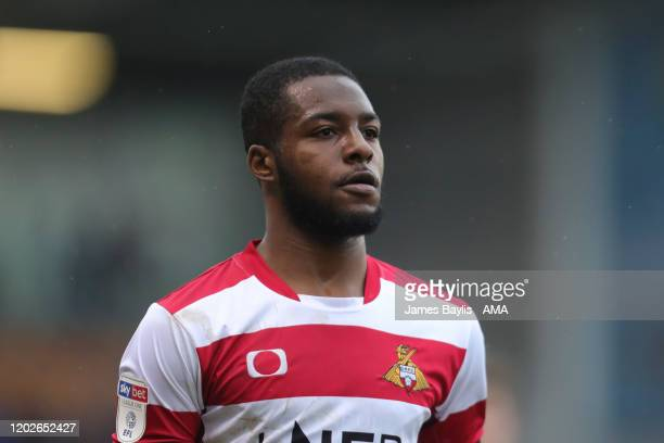 Cameron John of Doncaster Rovers during the Sky Bet League One match between Shrewsbury Town and Doncaster Rovers at Montgomery Waters Meadow on...