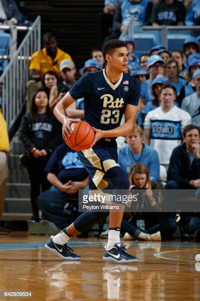 Cameron Johnson of the Pittsburgh Panthers carries the ball while playing against the North Carolina Tar Heels on January 31 2017 at the Dean Smith...