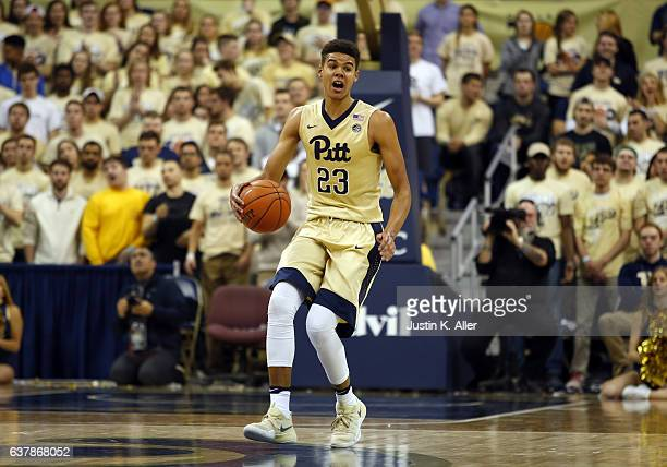 Cameron Johnson of the Pittsburgh Panthers in action against the Virginia Cavaliers at Petersen Events Center on January 4 2017 in Pittsburgh...