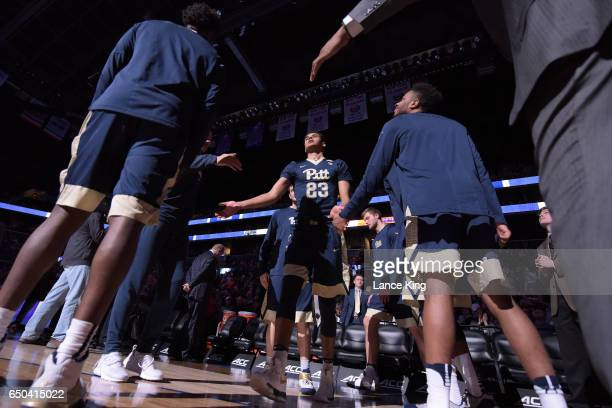 Cameron Johnson of the Pittsburgh Panthers in introduced prior to their game against the Virginia Cavaliers during the second round of the ACC...