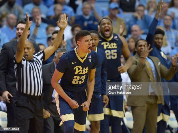 Cameron Johnson of the Pittsburgh Panthers reacts after making a threepoint basket against the North Carolina Tar Heels during the game at the Dean...