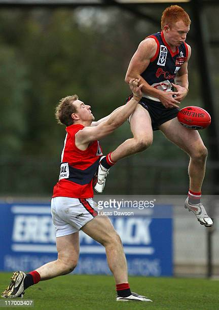 Cameron Johnston of the Scorpions attempts a mark during the round 12 VFL match between the Casey Scorpions and the Coburg Tigers at Casey Fields on...