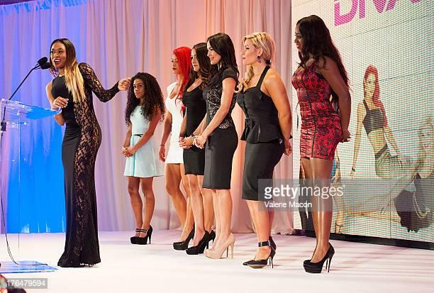 Cameron Jojo Eva Marie Nikki Bella Brie Bella Natalya and Naomi of Total Divas attend WWE SummerSlam Press Conference at Beverly Hills Hotel on...