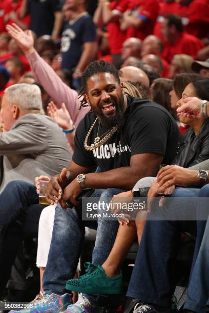 Cameron Jordan attends Game Three of Round One between the Portland Trail Blazers and the New Orleans Pelicans during the 2018 NBA Playoffs on April...