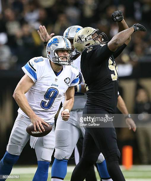 Cameron Jordan of the New Orleans Saints celebrates after sacking Matthew Stafford of the Detroit Lions during a game at the MercedesBenz Superdome...