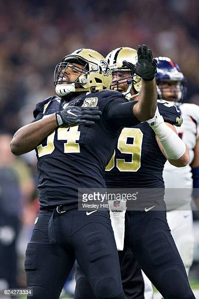 Cameron Jordan of the New Orleans Saints celebrates after sacking the quarterback during a game against the Denver Broncos at MercedesBenz Superdome...
