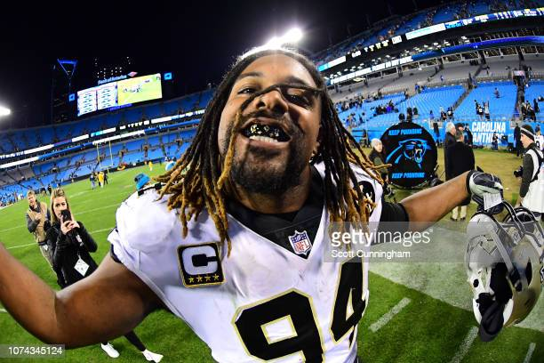 Cameron Jordan of the New Orleans Saints celebrates after the game against the Carolina Panthers at Bank of America Stadium on December 17 2018 in...