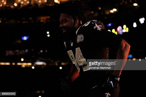 Cameron Jordan of the New Orleans Saints is introduced prior to playing the Tampa Bay Buccaneers t the MercedesBenz Superdome on December 24 2016 in...