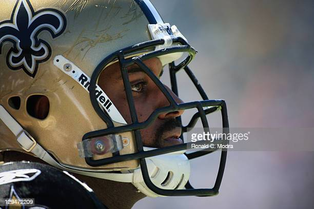 Cameron Jordan of the New Orleans Saints looks on during a NFL game against the Jacksonville Jaguars at EverBank Field on October 2 2011 in...