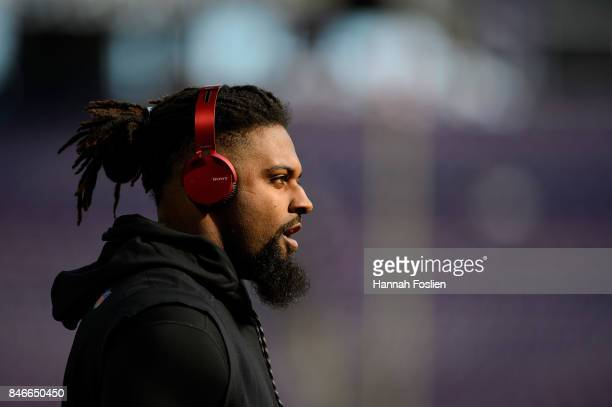 Cameron Jordan of the New Orleans Saints looks on during warmups before the game against the Minnesota Vikings on September 11 2017 at US Bank...