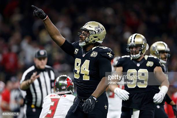 Cameron Jordan of the New Orleans Saints reacts after a play against the Tampa Bay Buccaneers at the MercedesBenz Superdome on December 24 2016 in...