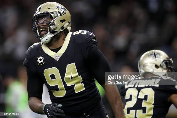 Cameron Jordan of the New Orleans Saints reacts after a sack during the game against the Carolina Panthers at the MercedesBenz Superdome on January 7...