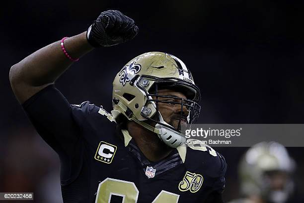 Cameron Jordan of the New Orleans Saints reacts during a game against the Seattle Seahawks at the MercedesBenz Superdome on October 30 2016 in New...