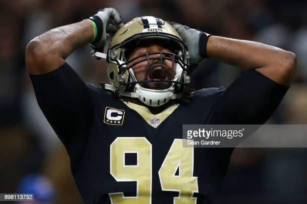 Cameron Jordan of the New Orleans Saints reacts during the second half of a game against the Atlanta Falcons at the MercedesBenz Superdome on...