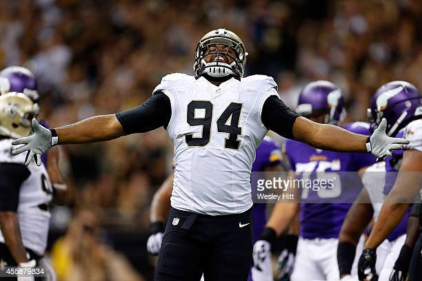 Cameron Jordan of the New Orleans Saints reacts to a sack against the Minnesota Vikings during the fourth quarter of a game at the MercedesBenz...