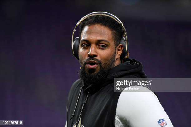 Cameron Jordan of the New Orleans Saints warms up before the game agains the Minnesota Vikings at US Bank Stadium on October 28 2018 in Minneapolis...