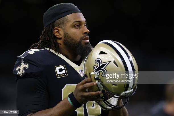 Cameron Jordan of the New Orleans Saints warms up before the NFC Wild Card playoff game against the Carolina Panthers at the MercedesBenz Superdome...