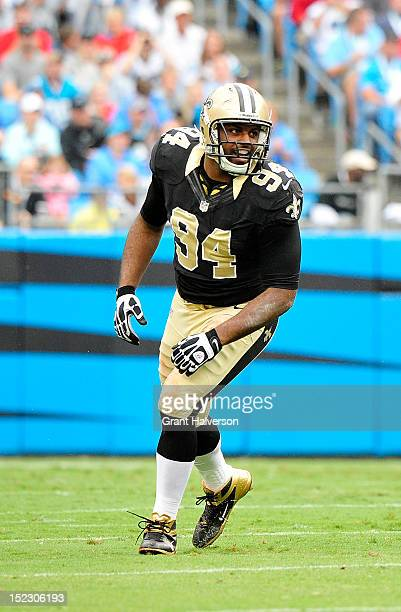 Cameron Jordan the New Orleans Saints against the Carolina Panthers during play at Bank of America Stadium on September 16 2012 in Charlotte North...