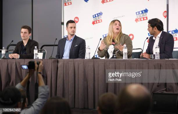 Cameron Kasky Ben Higgins Alison Brettschneider and Steven Olikara speak onstage during Politicon 2018 at Los Angeles Convention Center on October 20...