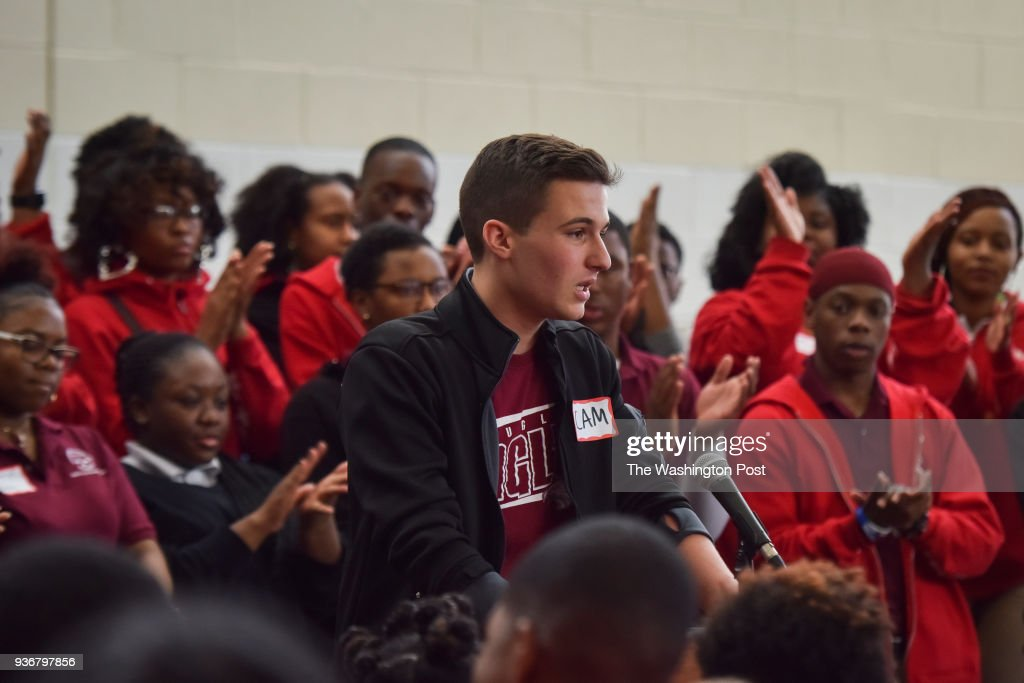 Cameron Kasky, from Parkland, FL, addresses the crowd as students from Marjory Stoneman Douglass High School in Parkland, Florida, gather with students Thurgood Marshall Academy for a rally about gun violence at Thurgood Marshall Academy on Thursday, March 22, 2018, in Washington, DC. Mayor Muriel Bowser is elevating her national profile on gun control as she prepares to host the March for Our Lives drawing as many as 500,000 to D.C. The mayor speaks at an assembly at Thurgood Marshall Academy in high-crime southeast Washington, where survivors of the Parkland shooting are visiting.