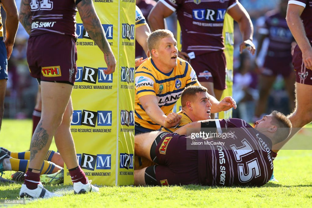 Cameron King of the Eels is disallowed a try during the round two NRL match between the Manly Sea Eagles and the Parramatta Eels at Lottoland on March 18, 2018 in Sydney, Australia.