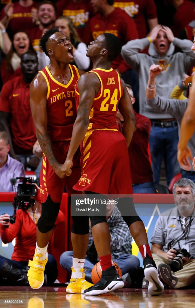 Cameron Lard #2 of the Iowa State Cyclones celebrates with teammate Terrence Lewis #24 of the Iowa State Cyclones after dunking the ball in the second half of play against the Iowa Hawkeyes at Hilton Coliseum on December 7, 2017 in Ames, Iowa. The Iowa State Cyclones won 84-78 over the Iowa Hawkeyes.