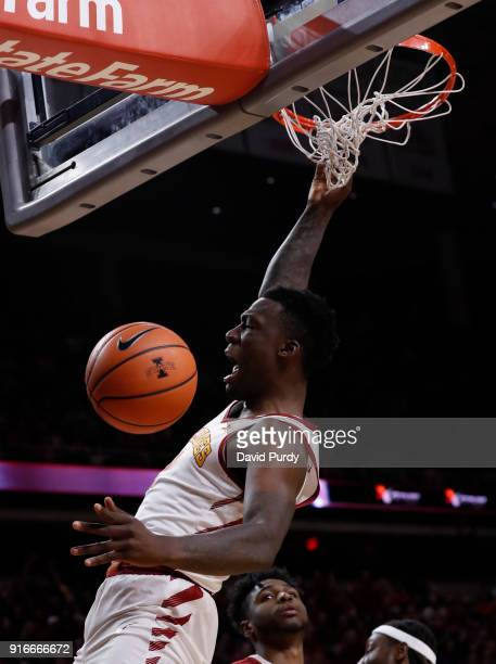 Cameron Lard of the Iowa State Cyclones dunks the ball in the first half of play against the Oklahoma Sooners at Hilton Coliseum on February 10, 2018...