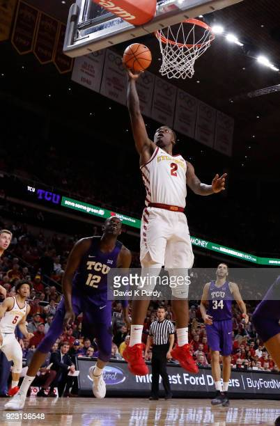 Cameron Lard of the Iowa State Cyclones lays up a shot as Kouat Noi and Kenrich Williams of the TCU Horned Frogs watch on in the first half of play...