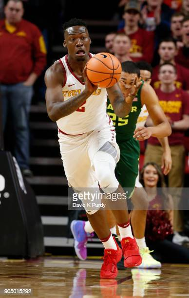 Cameron Lard of the Iowa State Cyclones passes the ball in the first half of play against the Baylor Bears at Hilton Coliseum on January 13 2018 in...