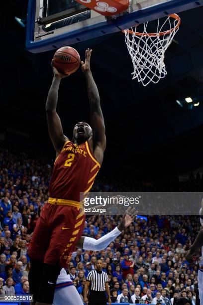 Cameron Lard of the Iowa State Cyclones shoots against the Kansas Jayhawks at Allen Fieldhouse on January 9 2018 in Lawrence Kansas