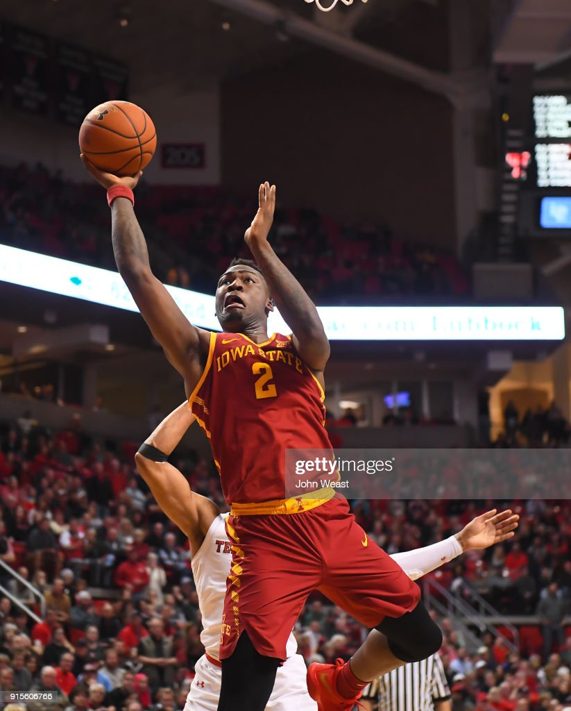 Cameron Lard #2 of the Iowa State Cyclones shoots the ball against the defense of Justin Gray #5 of the Texas Tech Red Raiders during the second half of the game on February 7, 2018 at United Supermarket Arena in Lubbock, Texas. Texas Tech defeated Iowa State 76-58.