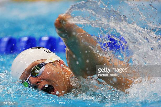 Cameron Leslie of New Zealand competes in the Men's 200m Freestyle S5 swimming final on day 3 of the London 2012 Paralympic Games at Aquatics Centre...