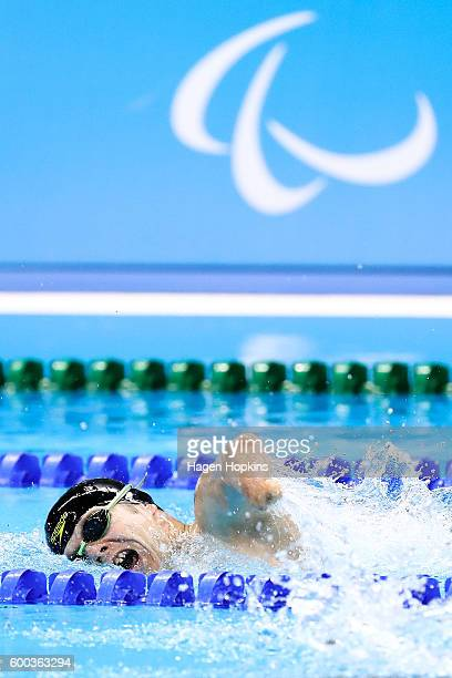 Cameron Leslie of New Zealand competes in the Men's 200m Freestyle S5 heat on day 1 of the Rio 2016 Paralympic Games at Olympic Aquatics Stadium on...