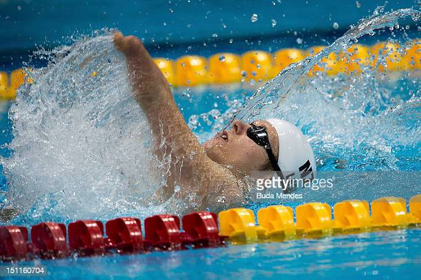 Cameron Leslie of New Zealand competes in the men's 200m medley SM4 on day 4 of the London 2012 Paralympic Games at Aquatics Centre on September 02...
