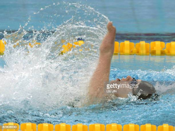 Cameron Leslie of New Zealand swims to win the men's 150m individual medley SM4 final during the 2008 Beijing Paralympic Games at the National...