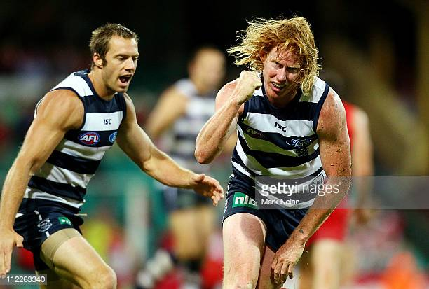 Cameron Ling of the Cats celebrates kicking a goal during the round four AFL match between the Sydney Swans and the Geelong Cats at Sydney Cricket...