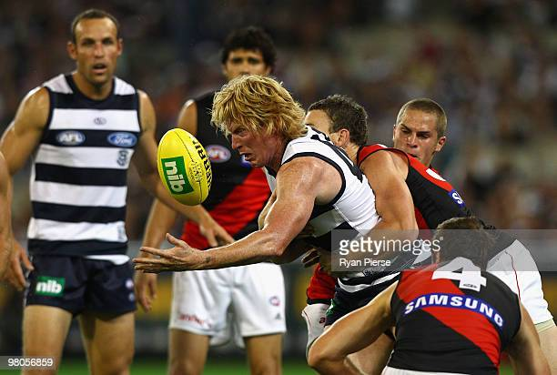 Cameron Ling of the Cats in action during the round one AFL match between the Geelong Cats and the Essendon Bombers at Melbourne Cricket Ground on...