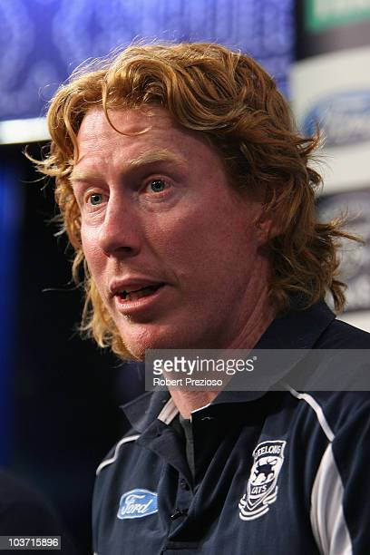 Cameron Ling of the Cats speaks to the media during a Geelong Cats AFL media session at Fox Sports Studio on August 30, 2010 in Melbourne, Australia.