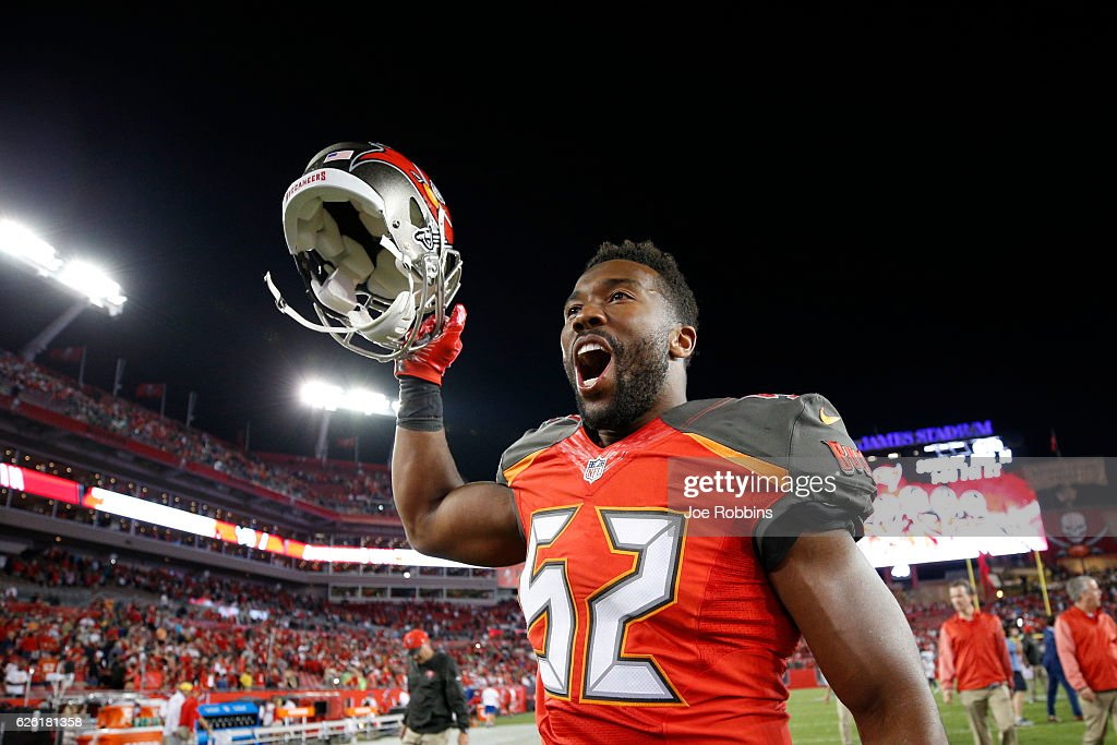Cameron Lynch #52 of the Tampa Bay Buccaneers celebrates after the game against the Seattle Seahawks at Raymond James Stadium on November 27, 2016 in Tampa, Florida. The Buccaneers defeated the Seahawks 14-5.