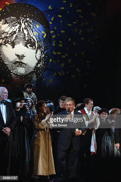 Cameron Mackintosh and the cast on stage at the '20th Anniversary Celebration of Les Miserables' show at the Queens Theatre on October 8 2005 in...