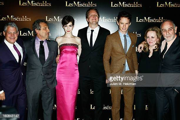 Cameron Mackintosh Anne Hathaway director Tom Hooper Eddie Redmayne and members of the crew attend 'Les Miserables' Paris Premiere as part of Avenue...
