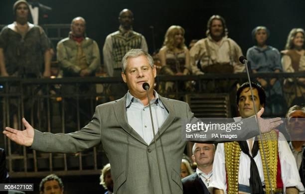 Cameron Mackintosh at the curtain call of the Les Miserables Anniversary performance at the O2 in London