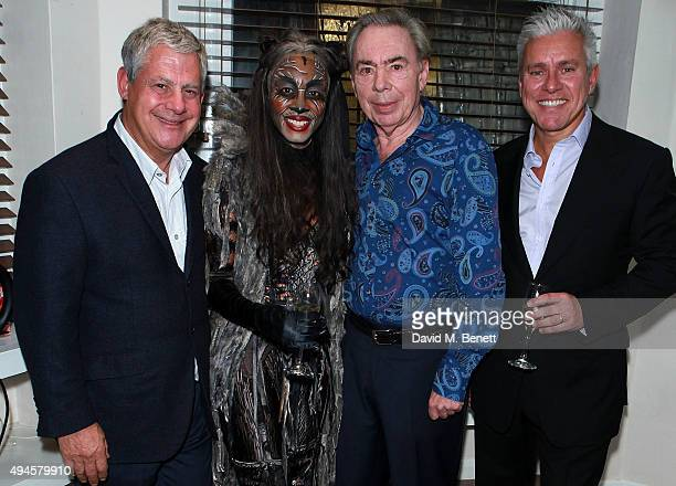 Cameron MacKintosh Beverley Knight Andrew Lloyd Webber and David Ian pose backstage following the press night performance of 'Cats' at the London...