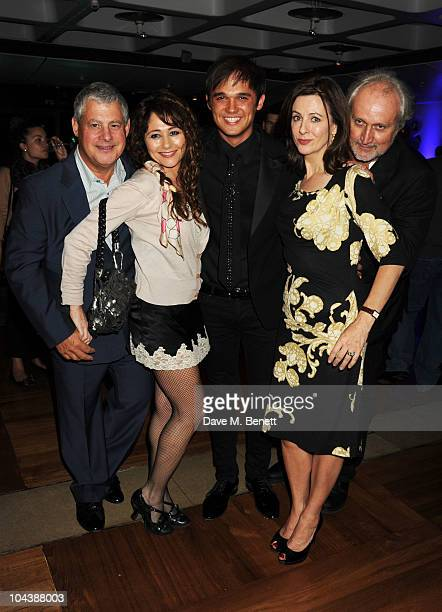 Cameron Mackintosh, Frances Ruffelle, Gareth Gates, Rebecca Caine and Nick Allott attend the afterparty of 'Les Miserables' at The Barbican on...
