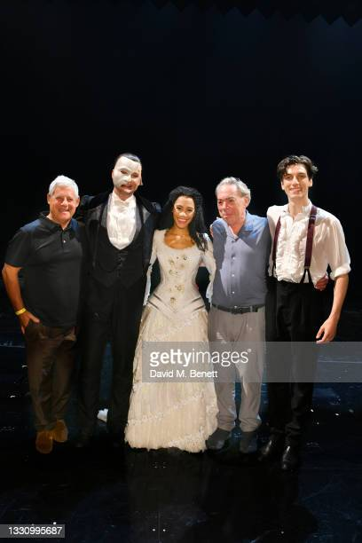 Cameron Mackintosh, Killian Donnelly, Lucy St Louis, Andrew Lloyd Webber and Rhys Whitfield pose backstage after the first return performance of...
