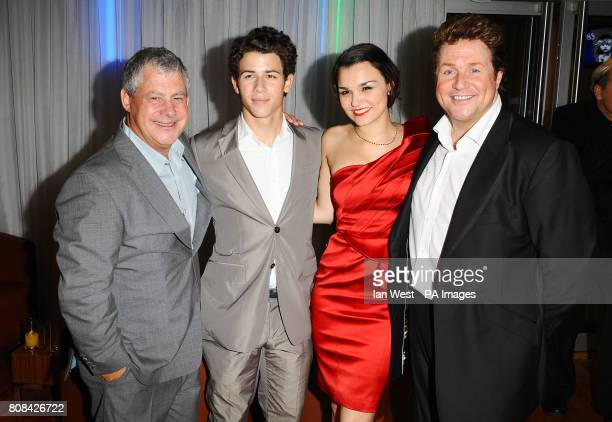 Cameron Mackintosh Nick Jonas Samantha Barks and Michael Ball at the after party of the Les Miserables Anniversary performance at the O2 in London