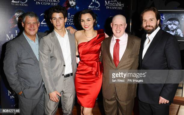 Cameron Mackintosh Nick Jonas Samantha Barks Matt Lucas and Alfie Boe at the after party of Les Miserables Anniversary performance at the O2 in London