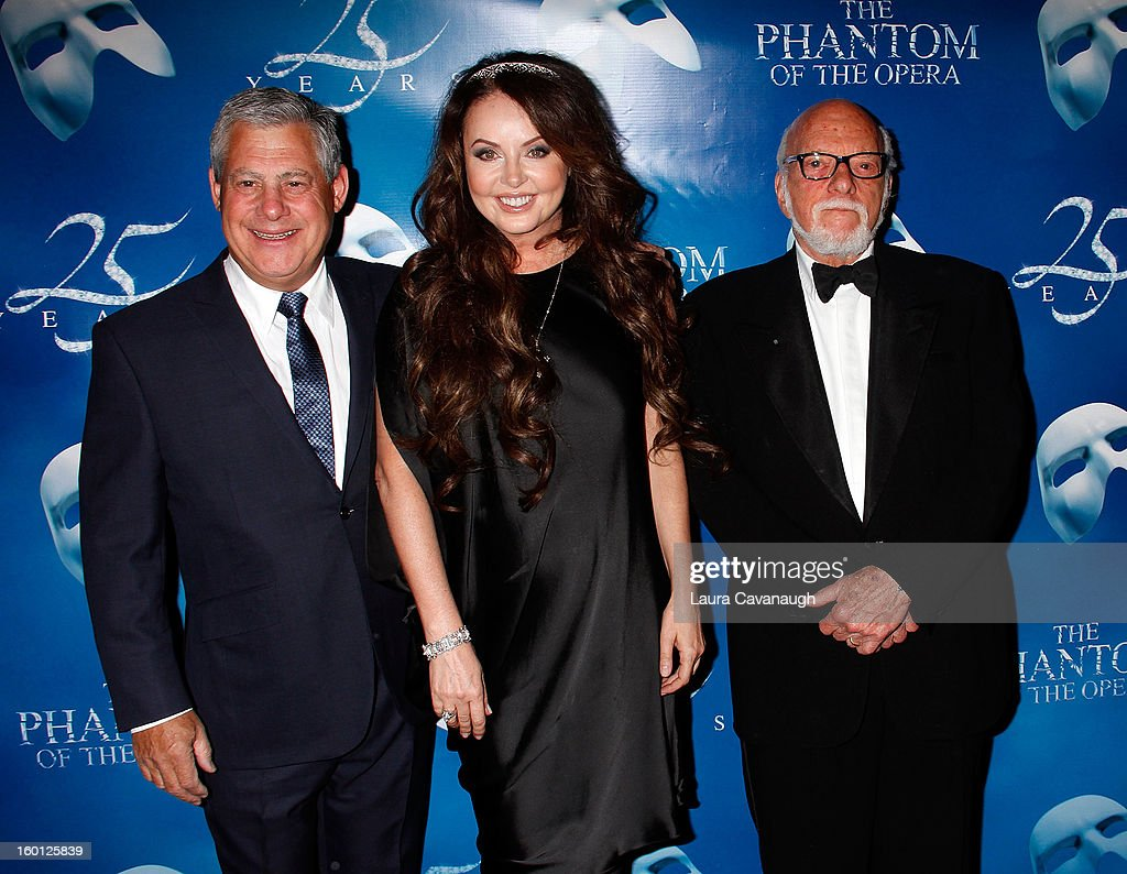 Cameron Mackintosh, Sarah Brightman and Harold Prince attend 'The Phantom Of The Opera' Broadway 25th Anniversary at Majestic Theatre on January 26, 2013 in New York, New York.