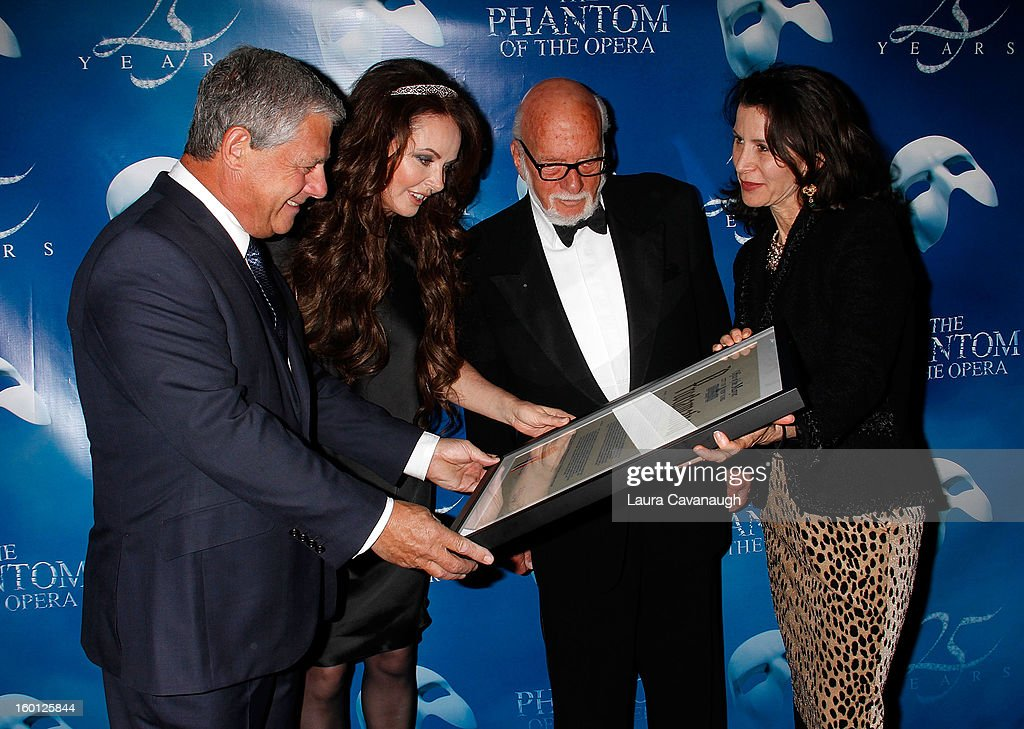 Cameron Mackintosh, Sarah Brightman, Harold Prince and Katherine Oliver attend 'The Phantom Of The Opera' Broadway 25th Anniversary at Majestic Theatre on January 26, 2013 in New York, New York.