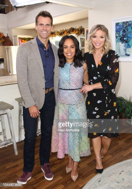 Cameron Mathison Amirah Vann and Debbie Matenopoulos on the set of Hallmark's 'Home Family' at Universal Studios Hollywood on October 2 2018 in...